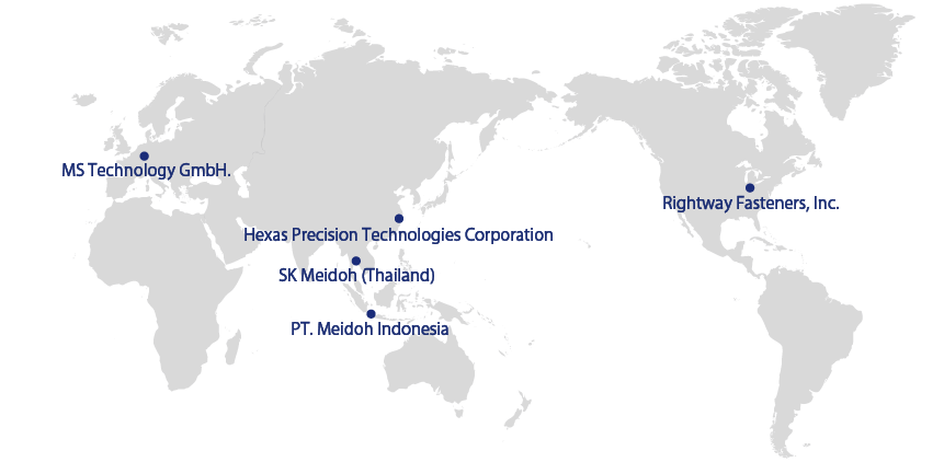MS technology GmbH, SK Meidoh Thailand Co.,Ltd., Hexas Precision Technologies Coproration, PT. Meidoh Indonesia  Co.,Ltd., Right Way Fasteners, Inc.